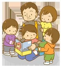 男性保育士と子供たち